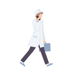 male emergency doctor hurries to patient flat vector image