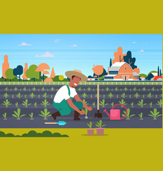 Male farmer planting young seedlings plants vector