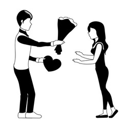 man giving presents to his girlfriend vector image