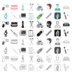 medicine and hospital set icons in cartoon style vector image