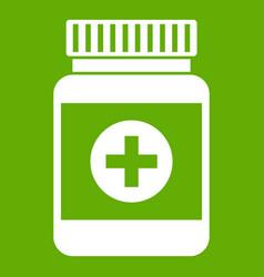 medicine bottle icon green vector image