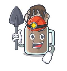 Miner milkshake mascot cartoon style vector