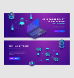 mining bitcoin and cryptocurrency transaction vector image