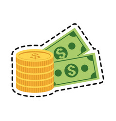 money coins and bills vector image
