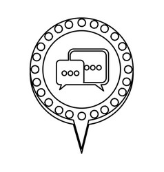 monochrome silhouette of dialogue in circular vector image
