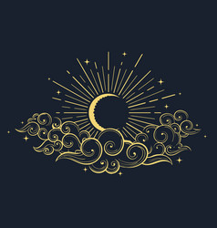Moon and clouds at midnight drawn in oriental vector
