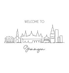 one single line drawing groningen city skyline vector image