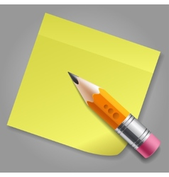Orange pencil and yellow sticker reminder page vector