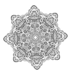 Ornament black white card with mandala vector