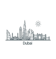 Outline Dubai banner vector image