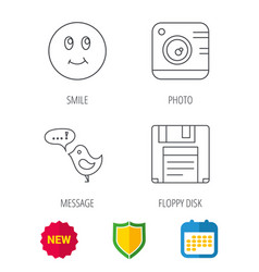 Photo camera floppy disk and message icons vector
