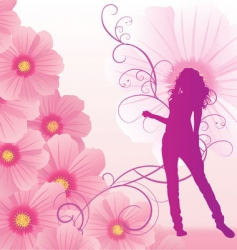 Pink cosmos flowers girl dance vector