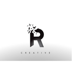 R logo letter with flock of birds flying and vector