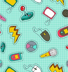 Retro technology patch icon seamless pattern vector