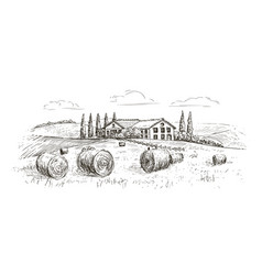 Rural landscape village sketch farm vintage vector