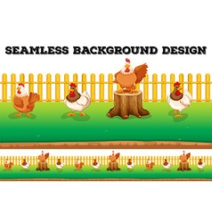 Seamless background with chickens on the farm vector image
