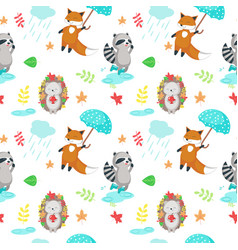 seamless pattern with cute autumn animals vector image