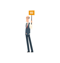 senior man standing and holding signboard with vector image
