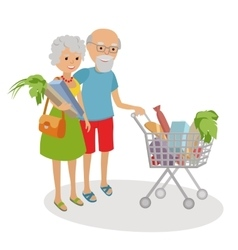 Senior woman and man shopping for groceries vector