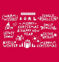 set christmas and new year celebration vector image