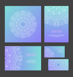 set ethnic circle pattern of corporate identity vector image