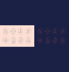 set logos framed hands holding objects vector image