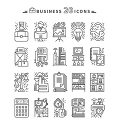 Set of Black Business Icons on White Background vector image