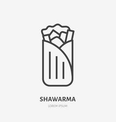 Shawarma burrito roll flat line icon vector