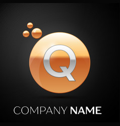 silver letter q logo gold dots splash and bubble vector image