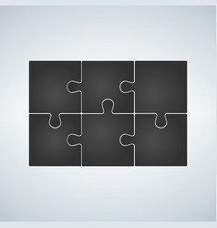 Six grey piece flat puzzle infographic vector