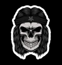 Skull rocker head stickers vector