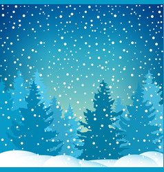 Snowfall in spruce forest vector