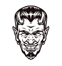 Spooky horned devil head vector