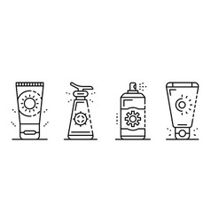 sunscreen icon set outline style vector image