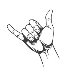 Surfer or shaka hand sign concept vector