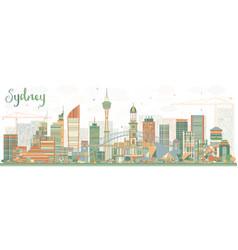 Sydney australia skyline with color buildings vector