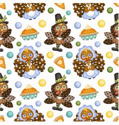 Thanksgiving day seamless pattern cute cartoon vector