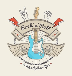 Trendy Retro Vintage Insignias with Guitar vector image