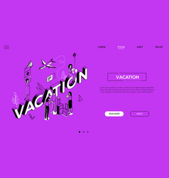 vacation trip - line design style isometric web vector image