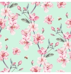 Vintage garden spring seamless background vector