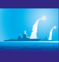 Warships on the sea horizon vector