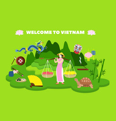 Welcome to vietnam country concept banner flat vector