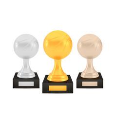 Winner basketball awards set gold silver bronze vector