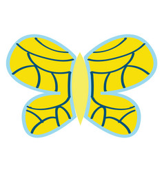 yellow butterfly with blue ornaments on white vector image