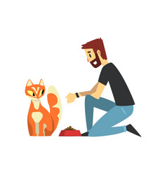 young man feeding his cat man caring of his pets vector image