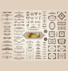 calligraphic vintage elements baroque set vector image