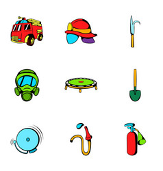 firefighter icons set cartoon style vector image vector image
