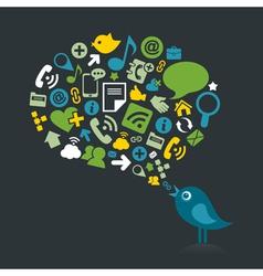 Social bird2 vector image vector image
