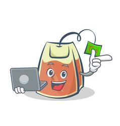 Tea bag character cartoon with laptop vector