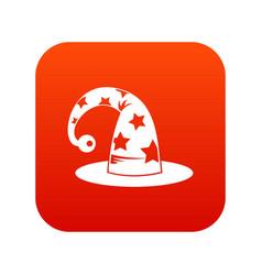 wizards hat icon digital red vector image vector image